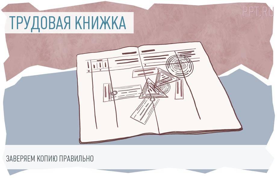 Копия заверенной работодателем трудовой книжки - образец