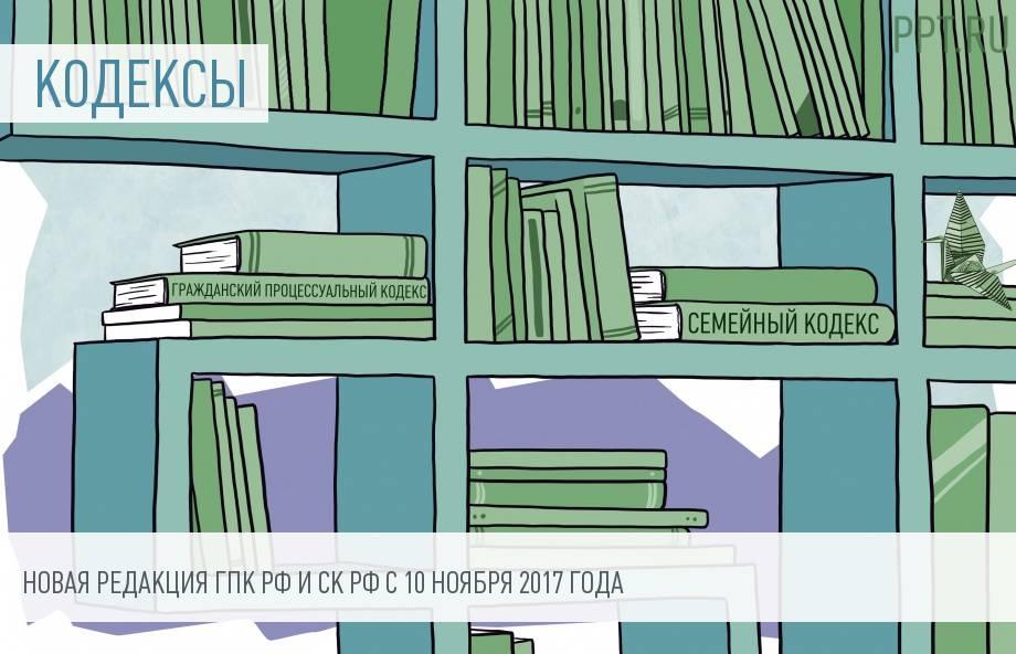 Изменения в Гражданском процессуальном и Семейном кодексах РФ с 10 ноября 2017 года