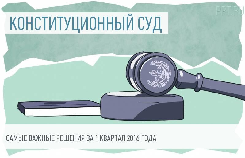 Конституционный Суд РФ обобщил практику за 1 квартал 2016 года