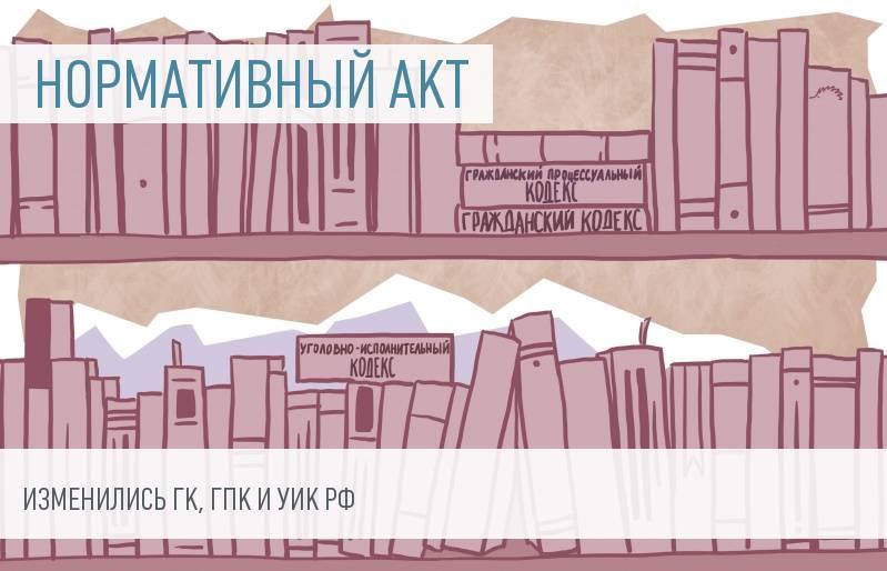 Изменения в ГК РФ, ГПК РФ и УИК РФ